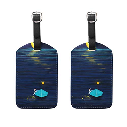 QiHouse Fresh Style Fantasy Painting Girl Boat Moon Travel Luggage Tags Hand Painted Creative Pattern Suitcase Bag Tags Carry-On ID Tags with Black Strap 5030095