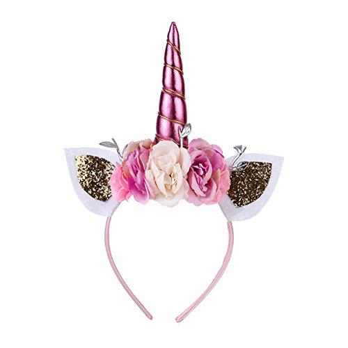 AIUIN Haarreif in weiß mit Einhorn Unicorn Headband Haarreifen aus Plüsch Ohren Für Halloween Weihnachten Karneval Head Accessoires (Pink)