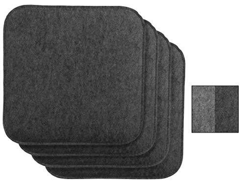 Brandsseller Wende-Sitzkissen Filz 4er Vorteilspack zweifarig Eckig Stuhlkissen Sitzauflage Gepolstert - 35 x 35 x 1,5 cm Anthrazit/Grau