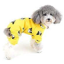 ZUNEA Pijama para Perro Pequeño Abrigo de Algodón Suave Ropa de Dormir con piernas Invierno Cálido para Mascotas Gatos Mono Adorable Sonrisa Estampado Cachorros Pijama Trajes Amarillo M