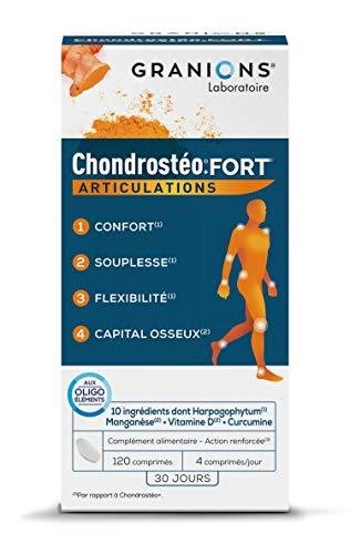 GRANIONS Chondrostéo+ FORT Articulations - 120 comprimés = 30 jours - Glucosamine, Chondroïtine, MSM, Harpagophytum - Formule Renforcée : Mobilité & Souplesse Articulaire, Flexibilité, Capital Osseux