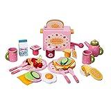 Euopat Küche Spielzeug, 32 STÜCKE Kinder Küche Set, Holz Lebensmittel Toaster Milch Besteck Pretend Mold Spiel Für Mädchen Kinder Kinder