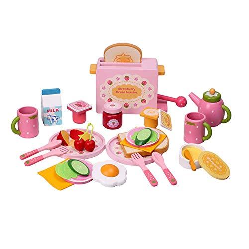 Küchenspielzeug Und Essen Spielen Set Für Kinder, 32 Stücke Küche Spielhaus Spielzeug Set Simulation Holz Essen Toaster Milch Besteck Pretend Mold Spiel Für Mädchen Kinder Kinder