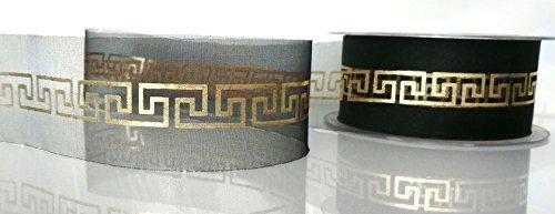 TRAUERBAND 25m x 40mm SCHWARZ - GOLD Muster DEKOBAND Schleifenband Trauerschleife [6576]