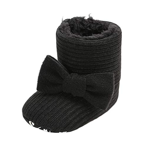 CLOUCKY Infant Girls Cute Bowknot Booties Baby Girl Warm Winter Snow Boots Black, 0-6 Months