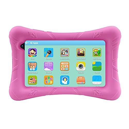 Pritom Tablet para niños de 7 pulgadas, Android 10, ROM de 32 GB, WiFi, Bluetooth, cámara dual, educación, control parental, software para niños preinstalado con estuche para tableta para niños (rosa)