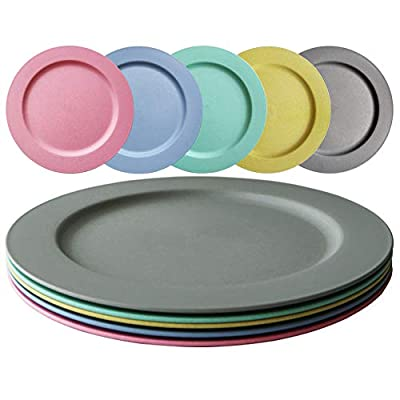 Greenandlife 10inch/5pcs Dishwasher & Microwave Safe Wheat Straw Plates