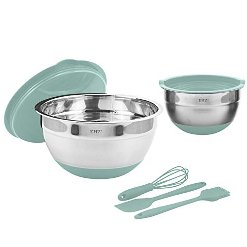 KXMYT Mixing Bowl, Mixing Bowls with Airtight Lids, Metal Nesting Bowls with 3 Accessories, Easy to Clean, Space Saving Storage, 4L /1L, for Cooking, Baking, Storing Food,Green