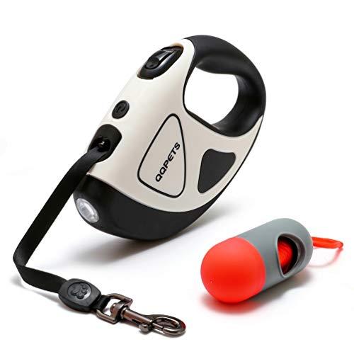 Einziehbare Hundeleine Starke Schnur 5m Mit Led-Taschenlampe, Hochleistungsleine Für kleine, mittelgroße Hunde Mit Abfallspenderbeutel, 360 ° verwickelungsfrei