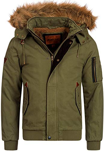 Indicode Herren Pennington Winterjacke aus 100% Baumwolle mit Teddy-Futter & Abnehmbarer Kapuze | Warmer Winterparka robuste Herrenjacke Parka Outdoorjacke Winter Jacke für Männer Army S