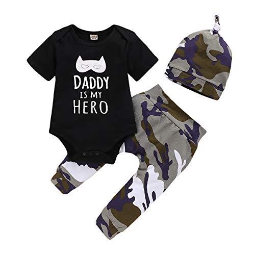 """Anywow Newborn - Conjunto de ropa unisex para bebé, 3 piezas, con letras, manga larga, pantalón de camuflaje + sombrero con texto """"Daddy is My Hero"""", estampado, ropa de 0-18 meses Blanco 6-9 Meses"""