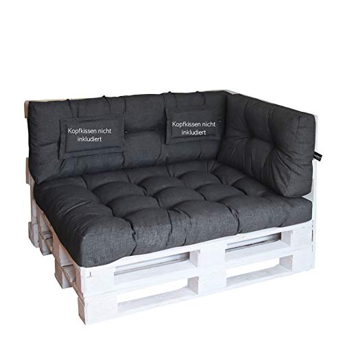 LILENO HOME Palettenkissen Set Anthrazit - Set 3: (1x Sitzteil + 1x Rückenteil + 1x Seitenteil) - Polster für Europaletten - Palettenkissen Outdoor als Sitzkissen für Palettenmöbel
