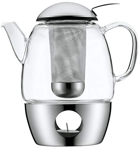 WMF SmarTea Teekanne mit Stövchen Set 3-teilig, Cromargan Edelstahl, Glaskanne 1,0l mit Siebeinsatz und Stövchen, spülmaschinegeeignet