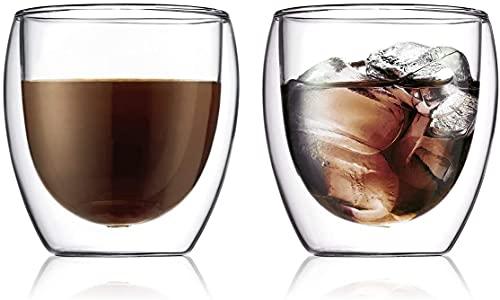 Onepeak ボダム パヴィーナ ダブルウォール グラス 250ml 2個セット