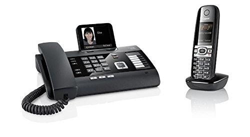 Gigaset Telefon DL500A + Mobilteil C610H (Kombi aus Tischtelefon und Schnurlostelefon, mit Farbdisplay, Anrufbeantworter, Freisprechfunktion, Dect Telefon) schwarz