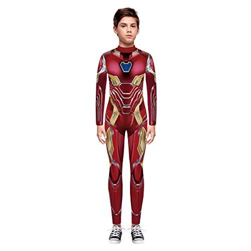 Leezeshaw Unisex Mädchen Jungen Marvel Superhelden Kostüme Kinder 3D Iron Man Print Langarm Skinny Catsuit Halloween Cosplay Jumpsuit Einteiler Bodysuit