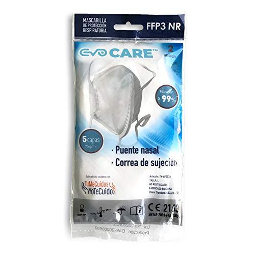 Mascarillas FFP3 Con certificado CE 2163 Adultos. 5 capas. 99% de filtración. Sujeción y respirabilidad máxima. Pack de 2 unidades.