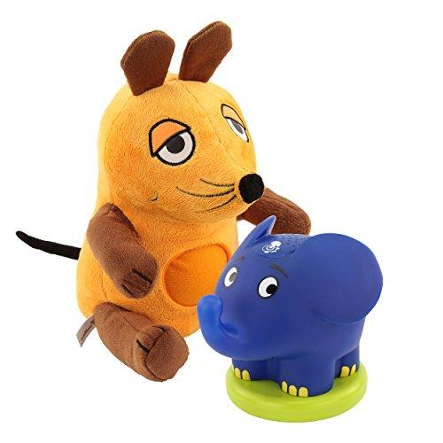 ANSMANN Kuscheltier Nachtlicht die Maus + Sternenlicht Elefant /Perfekte Einschlafhilfefür Kinder & Babys mit Schlummerlied Musik /Sendung mit der Maus
