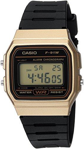 CASIO メンズ クラシック クォーツ メタル&樹脂製カジュアル腕時計 ブラック (モデル: F-91WM-9ACF)。