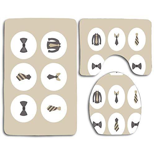 N\A Badematten-Sets Kostenlose Krawatte Icon Set Kontur Teppich U-förmige Toilettendeckelabdeckung, rutschfest, maschinenwaschbar, 3-teiliges Teppich-Set Leichter zu trocknen für Badezimmer