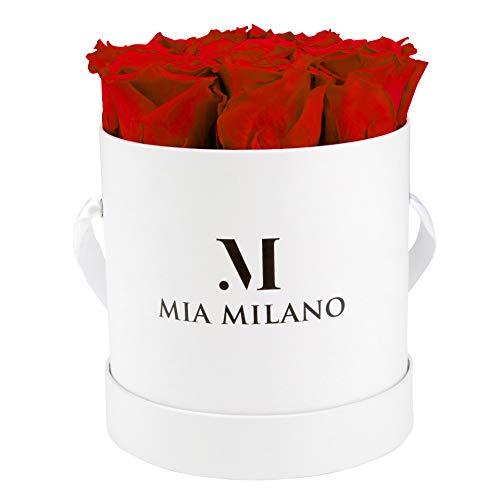 Mia Milano Rosenbox mit haltbaren Infinity Rosen I 9 echte Rosen in Einer Box I Flowerbox 3 Jahre haltbar I Edle Geschenkbox Handmade in Germany