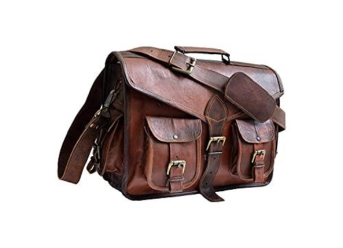 JAALD 38 cm echt Leder Laptoptasche Umhängetasche Schultertasche Kuriertasche FahrradTasche Schultasche Wasserdicht Vintage Herren Damen Geschenk XL Leather Messenger Bag