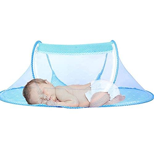 Mosquitera para Bebé ,Cuna de Viaje para bebé, Mosquitera Portátil para Bebé con Cremallera, Adecuada para Dormitorio Familiar, Camping de Playa de Viaje (Azul)