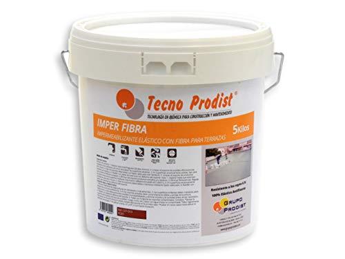 IMPER FIBRA de Tecno Prodist - 15 Litros (ROJO) Pintura Terrazas Impermeabilizante y elástica con Fibras Incorporadas - Buena Calidad - (A Rodillo o brocha, disponible en color rojo o blanco)