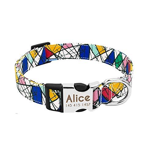 Q&K Collar de Perro de Nailon Collar Personalizado para Mascotas Etiqueta de identificación grabada Placa de identificación Reflectante para Perros pequeños medianos Grandes Pit Bull Pug (Color)