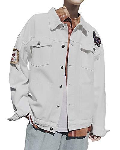 Jeansjacke Herren Vintage Taste Distressed Mit Kapuze Denim Jacke Verfallen DenimMantel Weiß L