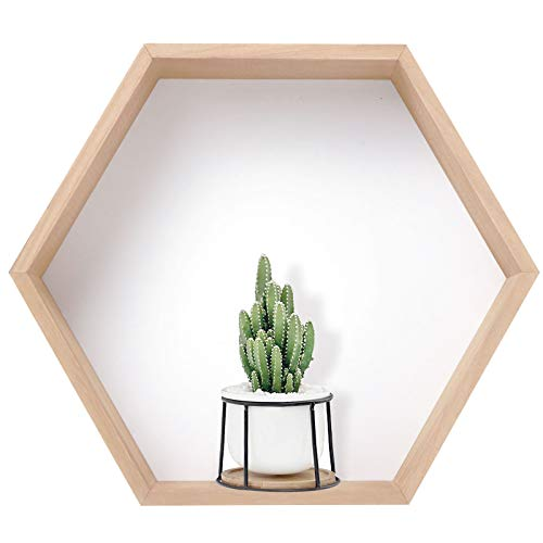UMORNING - Estantes flotantes hexagonales para colgar en la pared, para coleccionables, fotos, marcos, plantas, granja, para dormitorio, sala de estar, panal, decoración de pared