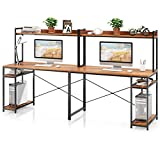VIPEK 94.5 Inch 2 Person Desk, Large Double Computer Desk with Hutch & Storage Shelves, Extra Long Desk Writing Study Table Double Workstation Home Office Desk for Two People, Suntalam Walnut