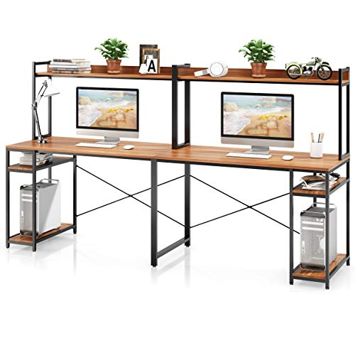 VIPEK Computer Desk with Storage Shelves, Large Desk with Hutch & Open Display Shelf, 94.5 Inch Extra Long Desk Writing Study Table Double Workstation Home Office Desk for Two Person, Suntalam Walnut