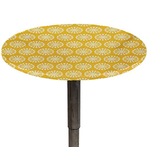 Round Table Cover Yellow and White Outdoor Tablecloths Monochrome Ornament Pattern Abstract Dandelion Blossoms Shabby Colors BBQ, Picnic, Kitchen Tablecloth Marigold White Diameter 40'