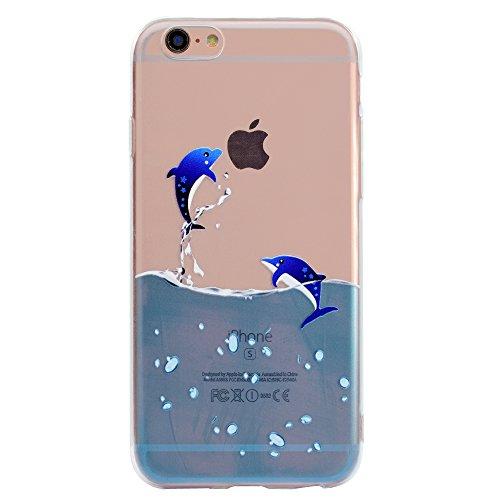 KimsCase Funda Compatible con iPhone 6s Plus/iPhone 6 Plus Transparente con Dibujos Silicona Ultrafina Slim Carcasa Case Antigolpes TPU Bumper Kawaii Cover - Delfín