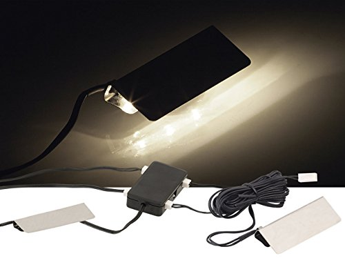 Lunartec Glasboden LED: LED-Glasbodenbeleuchtung, 4 Klammern mit 12 tageslichtweißen LEDs (Glasregal mit Beleuchtung)