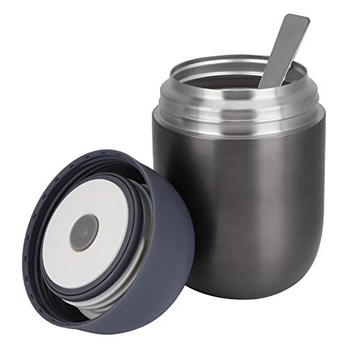 Tarro de comida caliente, Fiambrera doble de grado alimenticio, Aspiradora Sin BPA para el hogar Oficina de picnic gris para acampar