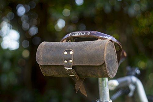 London Craftwork Bolsa de herramientas de cuero genuino bolsa de sillín de bicicleta hecha a mano bolsa de bicicleta retro marrón bro-raw