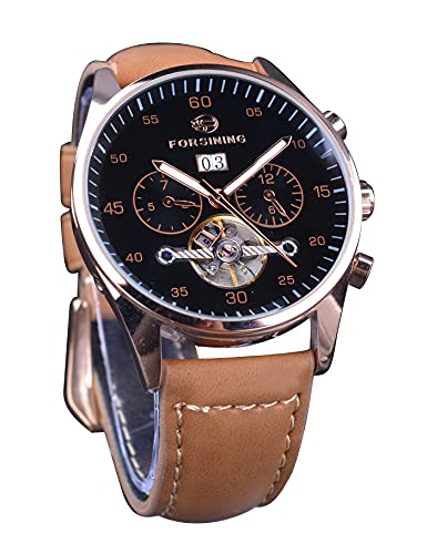 Forsining Marca superior 3 Dial hombres movimiento automático relojes mecánicos lujo luminoso multifunción fecha reloj tourbillon marrón cuero genuino mens relojes