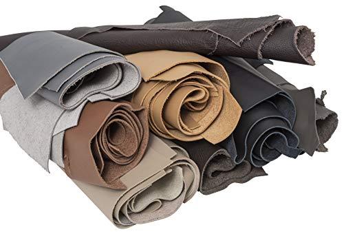 IPEA - 1 kg de Cortes de Piel auténtica en tamaño Aleatorio y colires Mixtos con Formas variadas de producción Artesanal, Colores clásicos, Piezas de Cuero