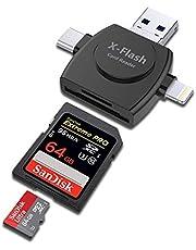 PAFOR SDカードリーダー iPhone Android Type-C USB 全対応 4in1外付メモリーカードリーダー iphoneデータ保存 機器容量不足 解消 データ転送 データ移行 フラッシュドライブ カードリーダー 写真 動画 音楽 直接 高速転送 カメラ用SDカード リーダー Android PC直接使用可能 MicroSD TFカードリーダー 一年間品質 わかりやしく日本語説明書付き 商標登録済み(黒)