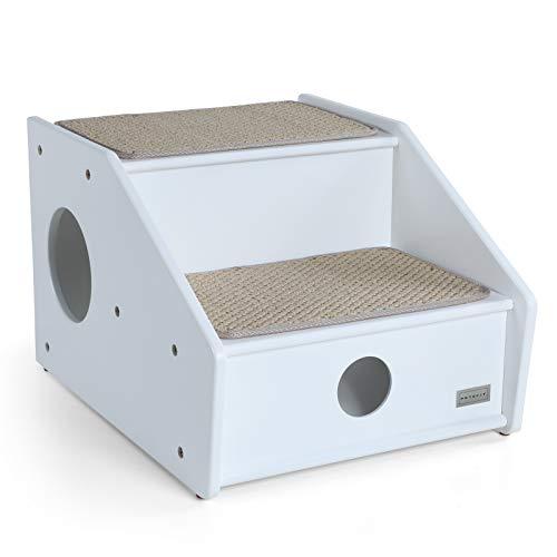 Petsfit Hundetreppe Katzentreppe Haustiertreppe mit rutschfestem Teppich für große kleine Hunde und Katzen, 2 Stufen /3 Stufen