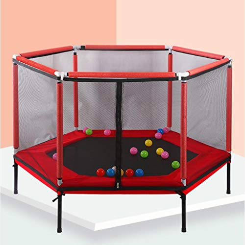 Toddler Trampoline for Kids with Net, 61in Kids Trampoline with Enclosure, Mini Trampoline Max Load 200lbs (Color : Red, Size : 5ft)