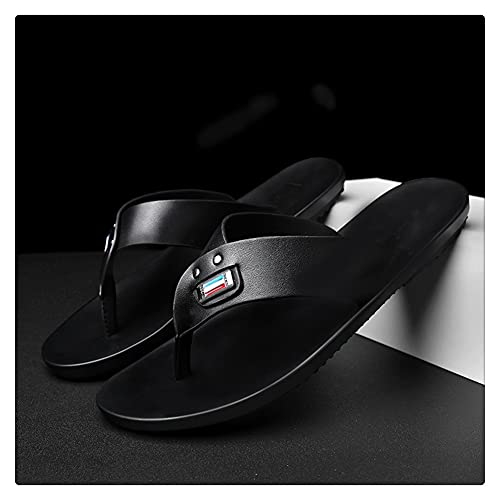LSDTZ Sandalias Con Chanclas Para Hombre, Zapatos De Playa De Piel De Vaca, Chanclas, Sandalias De Cuero, Sandalias Casuales Negras Para Hombre, Verano (Color : Black, Size : 39yards)