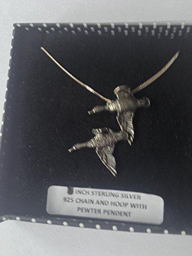 B38 - Collar de plata de ley 925 con colgante de patos, hecho a mano, cadena de 45,72 cm con caja de regalo