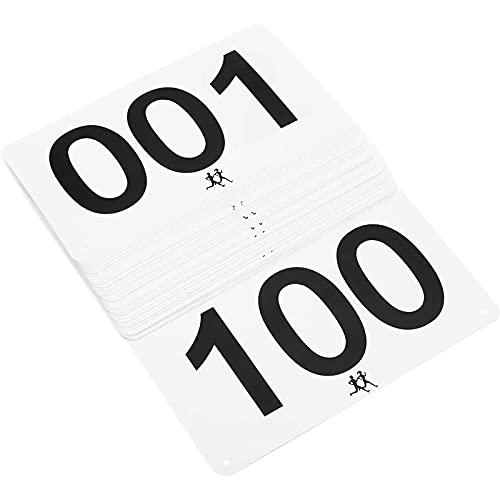 Juvale Marathon Bibs, White Racing Bibs Numbered 1 to 100 (7 x 4 Inches, 100 Pack)