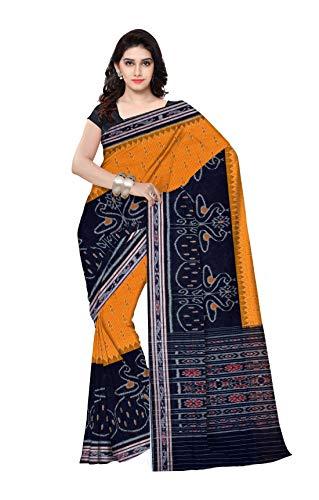 DK FASHION Women's Sambalpuri Odisha Handloom Art Cotton Saree with Un-stiched blouse - YELLOW,BLACK (Animal design-snri)
