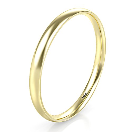 Sz 8.0 Solid 10K Yellow Gold 2MM Round Dome Wedding Band, No Color, Size No Size