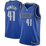SDAFSA Dirk Nowitzki Top sin mangas Dallas Mesh Mavericks Camiseta de baloncesto #41 Swingman Jersey Royal - Edición Icon XXL