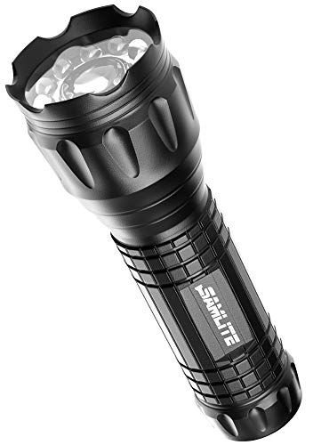 SAMLITE- LED Tactical Flashlight With 5 Options, Bright LED Light, Laser Pointer, UV Blacklight, Green Light and Magnetic Bottom - Water Resistant - (3 AAA Batteries Included)